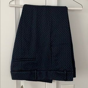 Navy brocade stitched cropped ankle pants. Sz 12P
